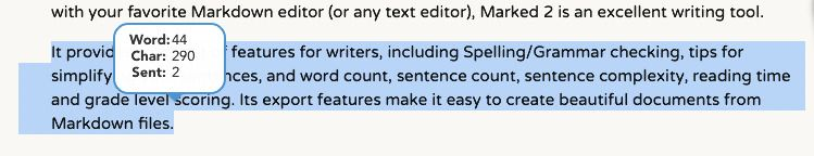 Word count popup on text selection